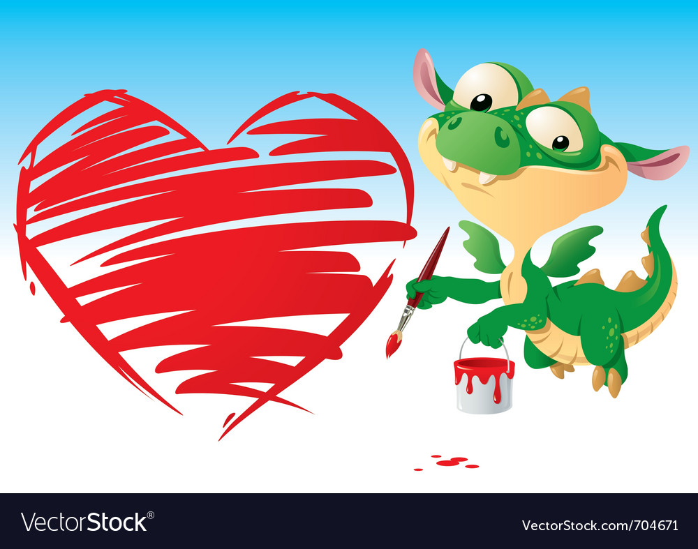 Dragon drawing the heart vector