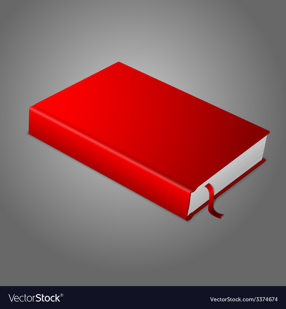 Realistic red blank hardcover book with bookmark vector