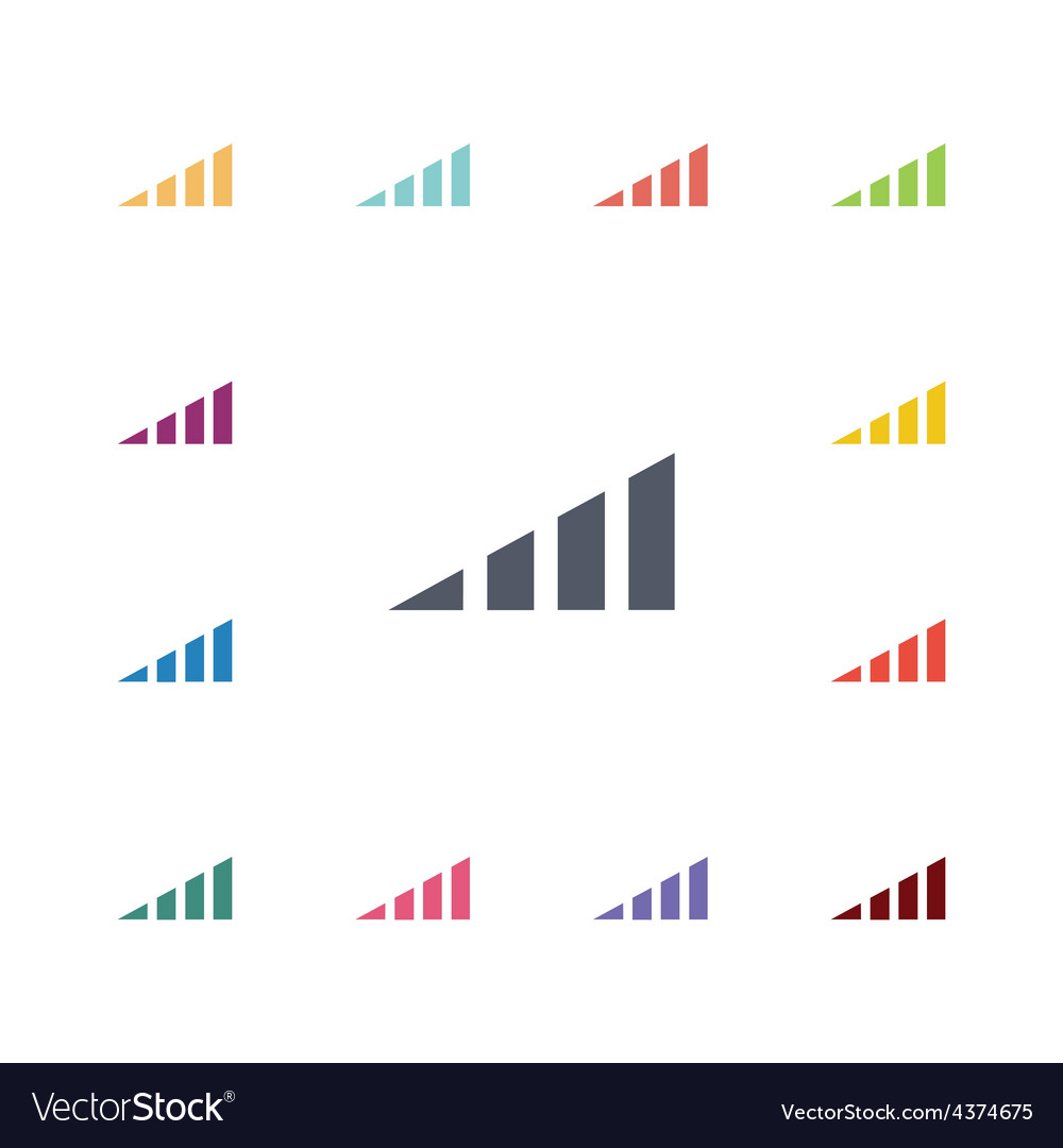 Volume level flat icons set vector