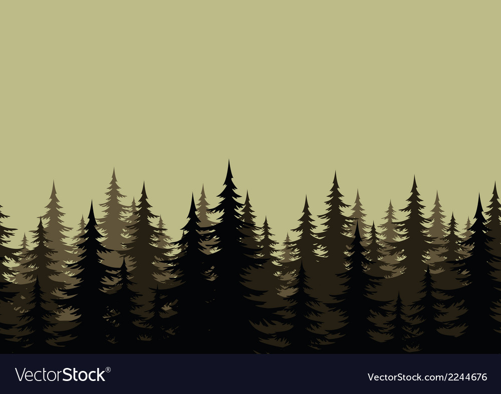 Seamless landscape forest silhouettes vector