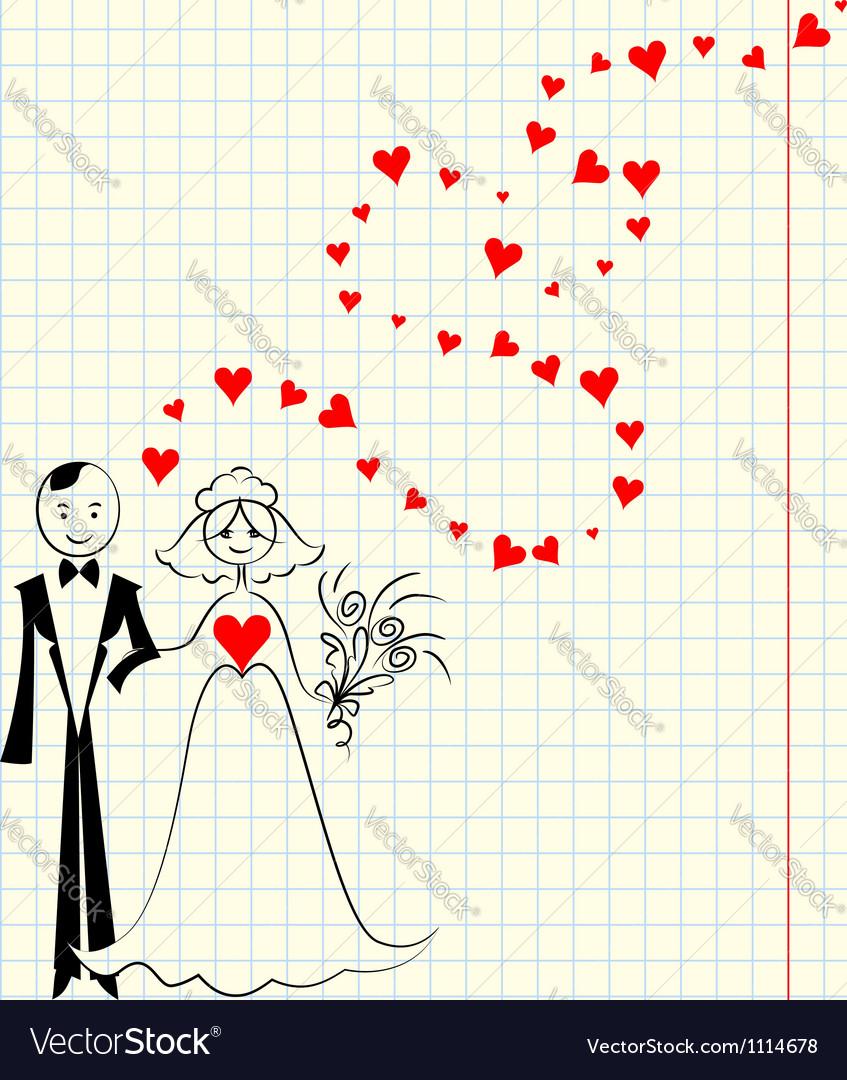 Bride and groom at the school a piece of scrap vector