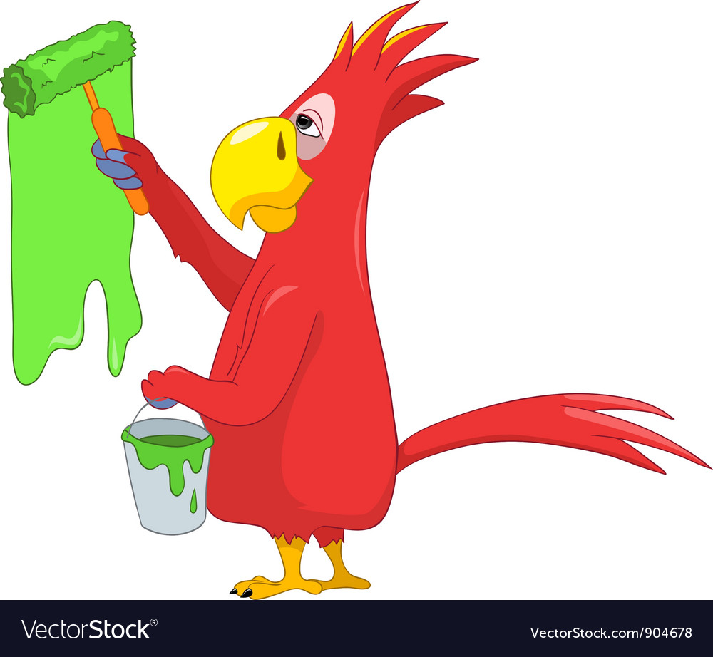 Funny parrot painter vector