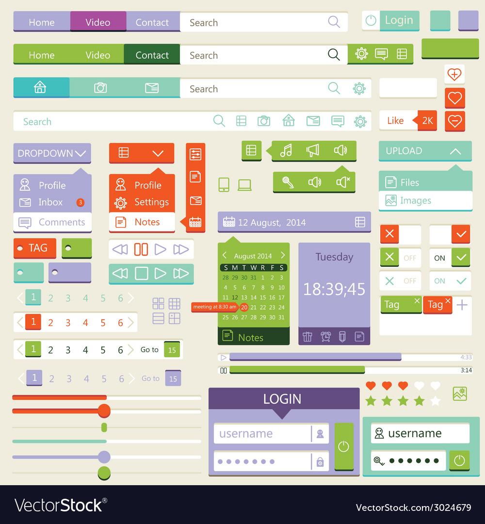 Flat elements design ui set vector