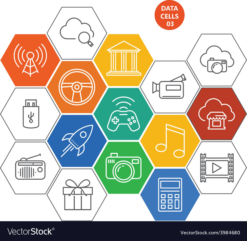 Data cells icons - gaming and media vector