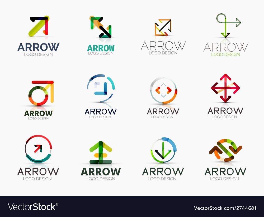 Collection of arrow company logos vector