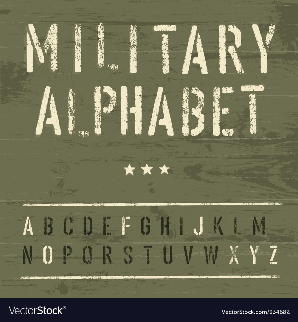 Vintage military alphabet vector