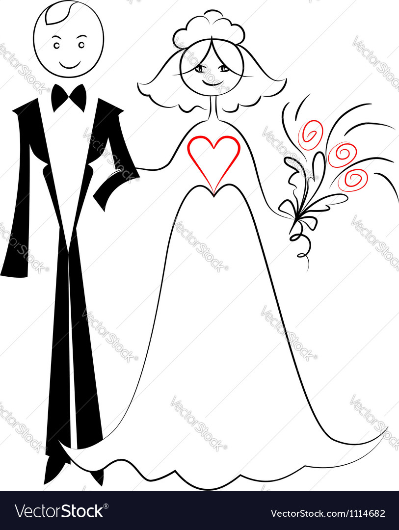 Wedding card with bride and groom vector