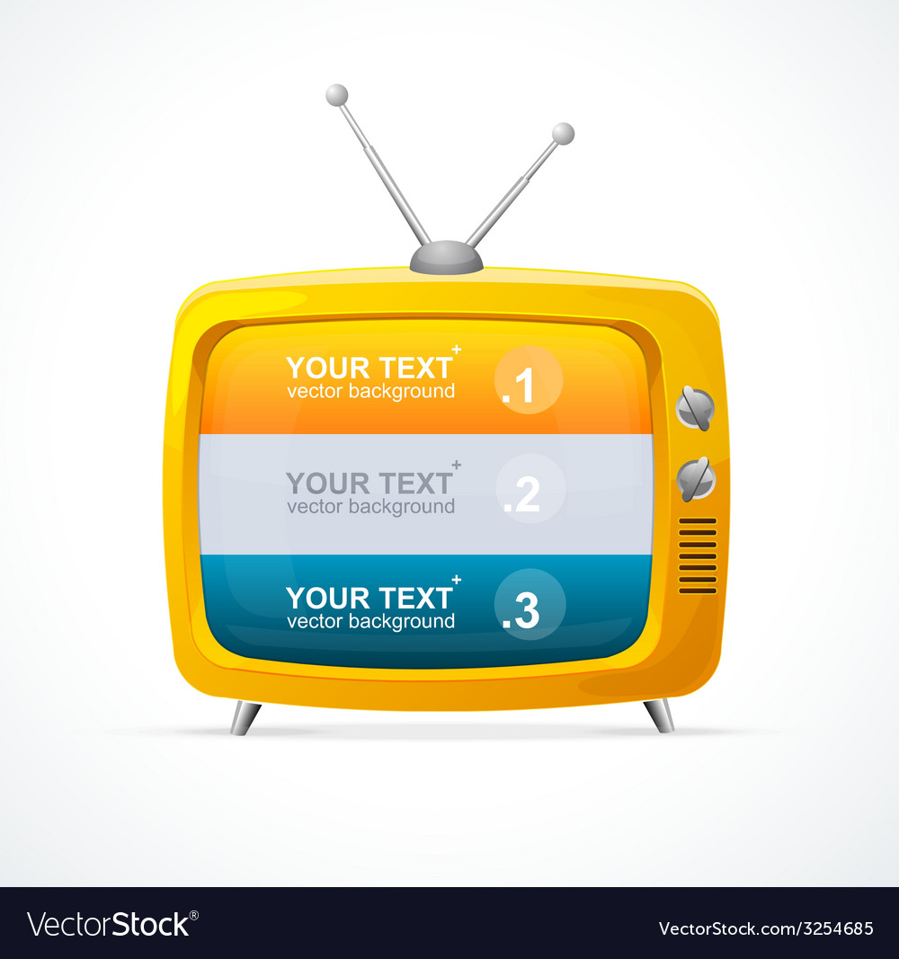 Orange tv blank and option banner 123 vector
