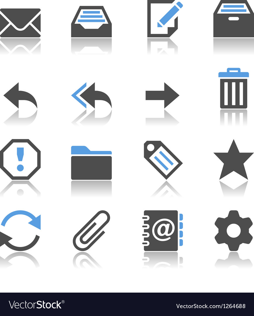 Email icons reflection vector
