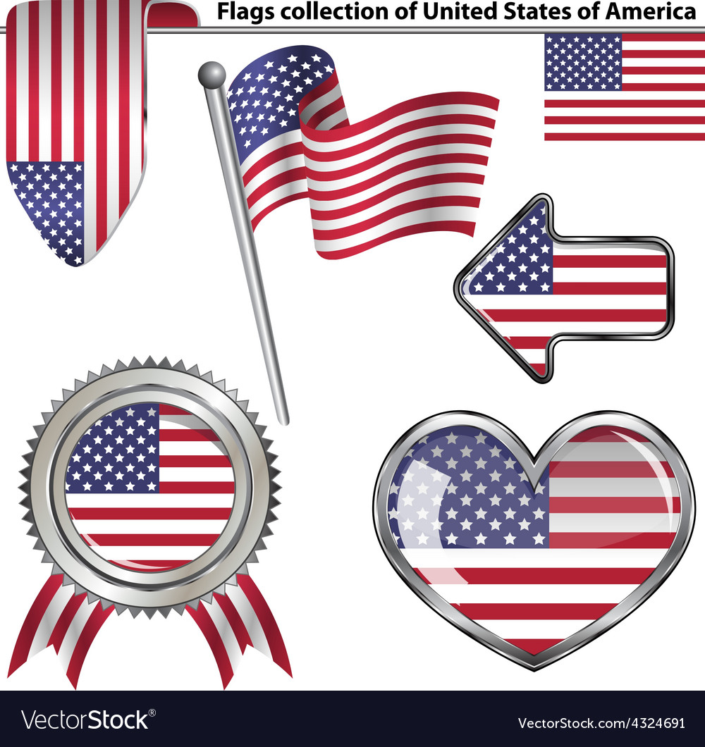 Glossy icons with usa flag vector