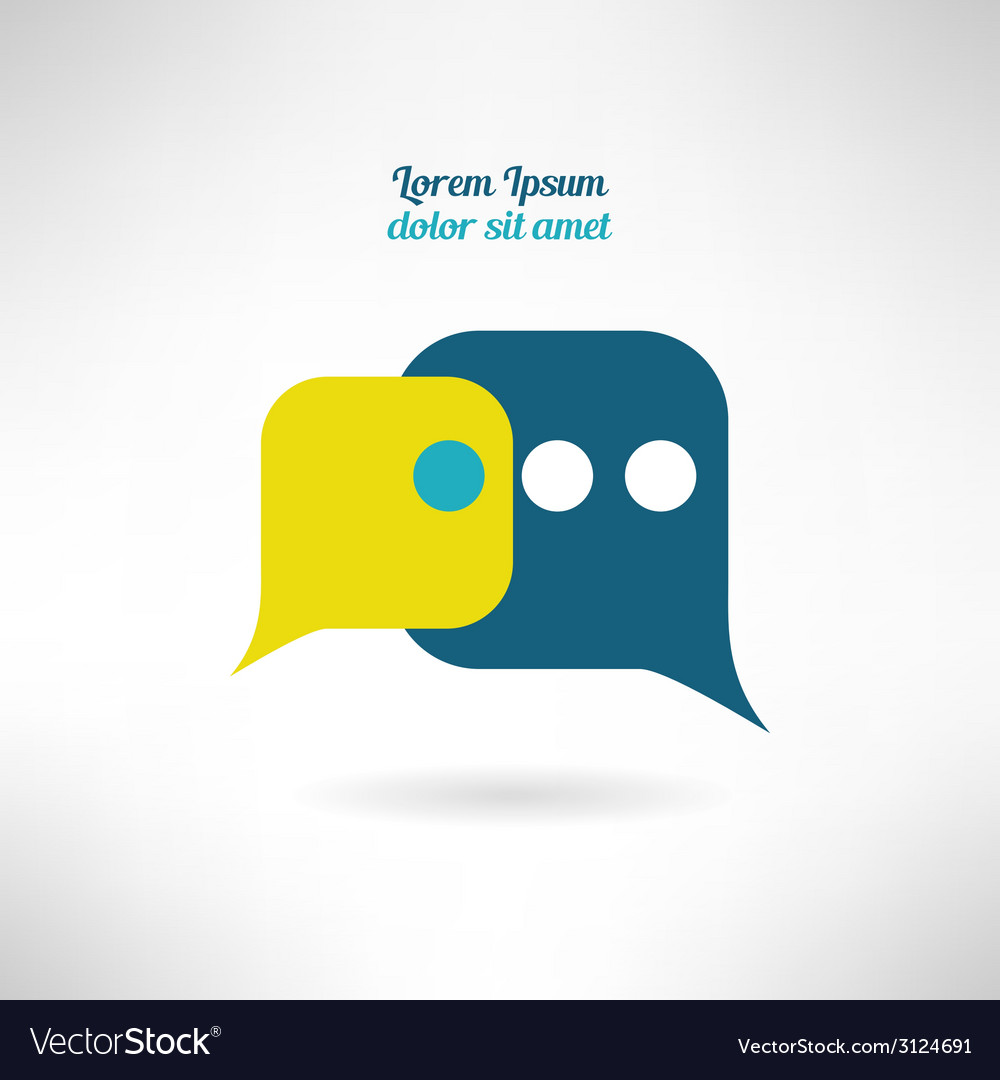 Simple chat icon in modern flat design internet vector