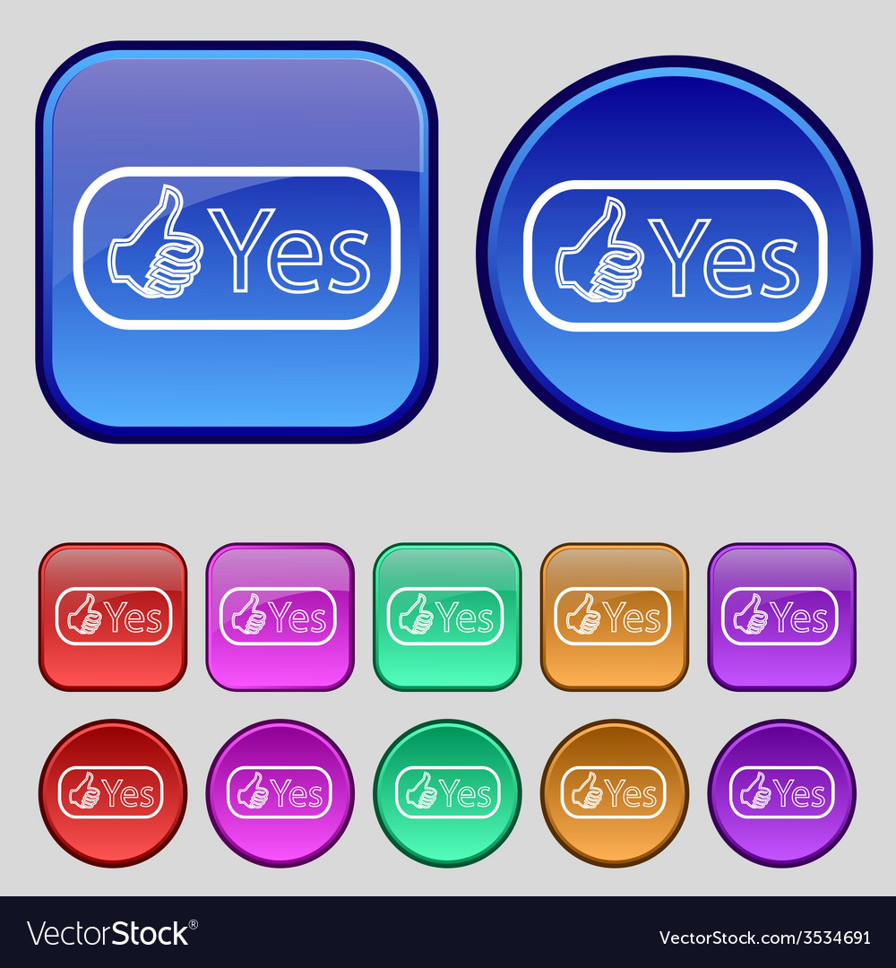 Yes sign icon positive check symbol set of colored vector