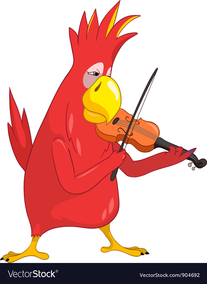 Funny parrot violinist vector