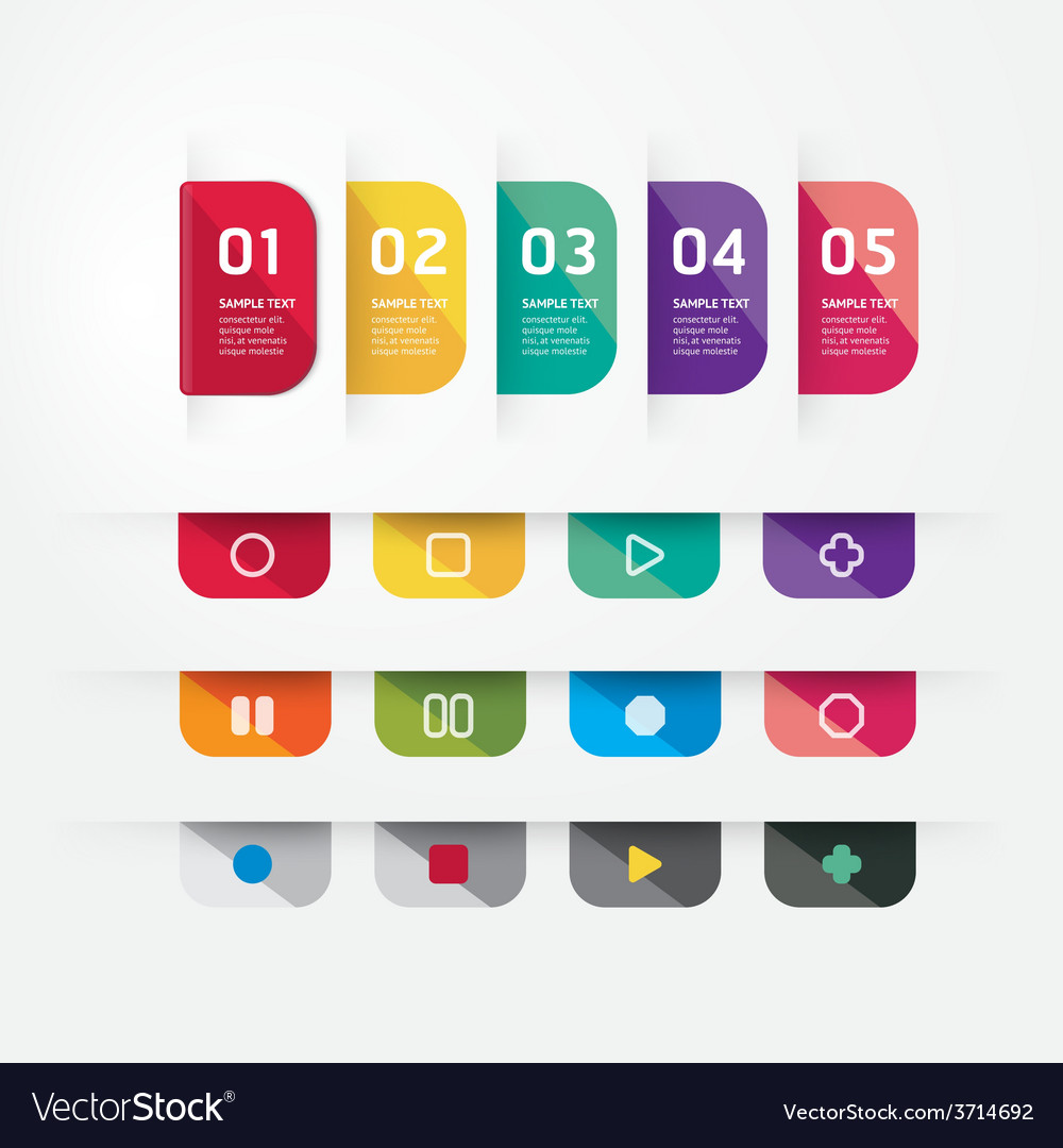 Modern design button tag blank rectangle labels vector