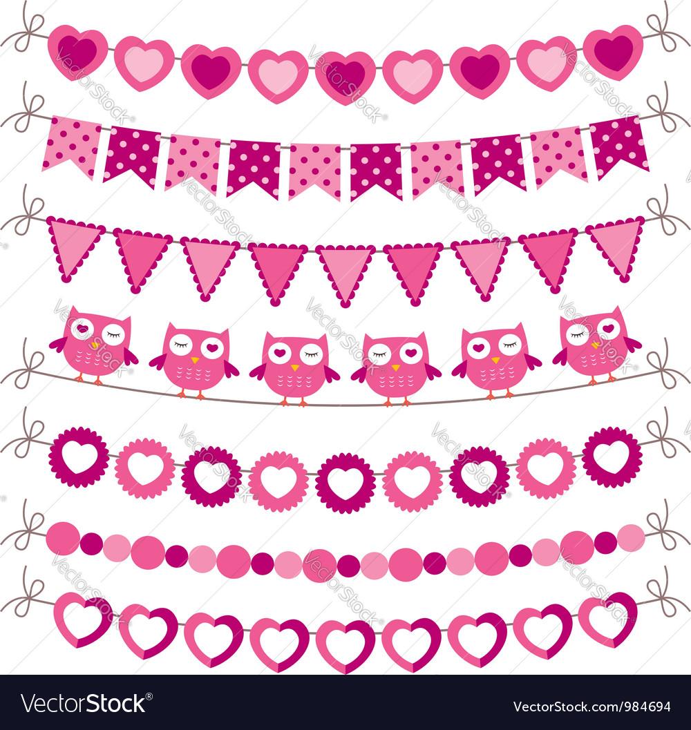 Bunting and garland pink set vector