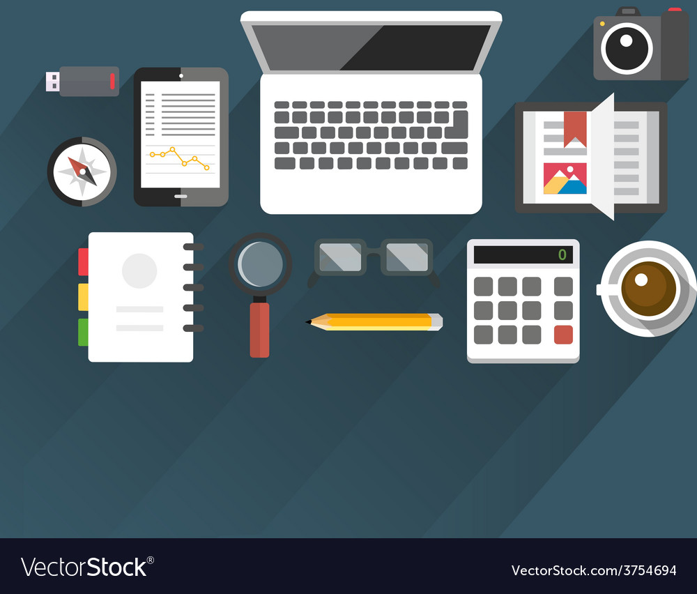 Flattableoffice05 vector