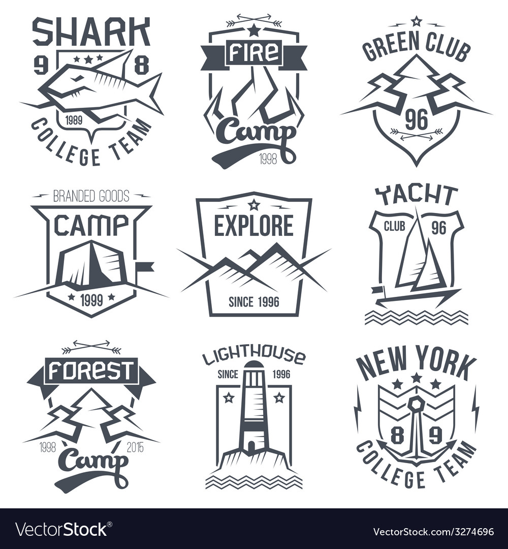 Vintage camping and sporting badges vector