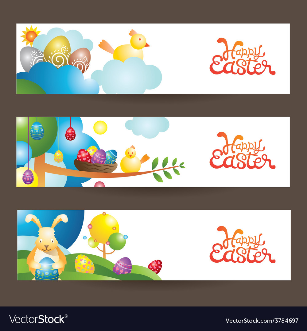 Easter background and banner vector