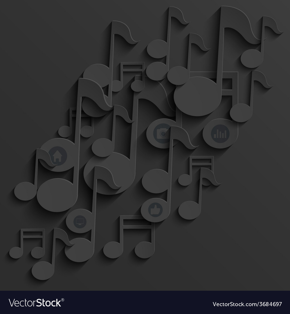 Modern note music background template vector