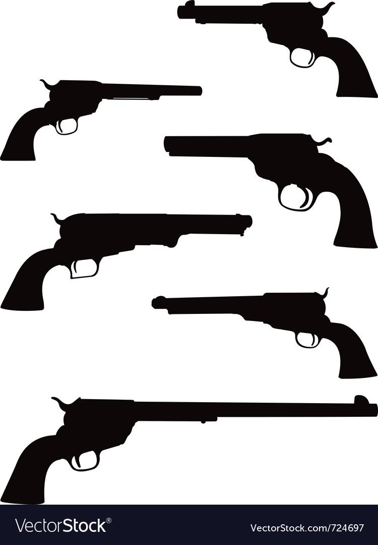 Pistol silhouettes vector