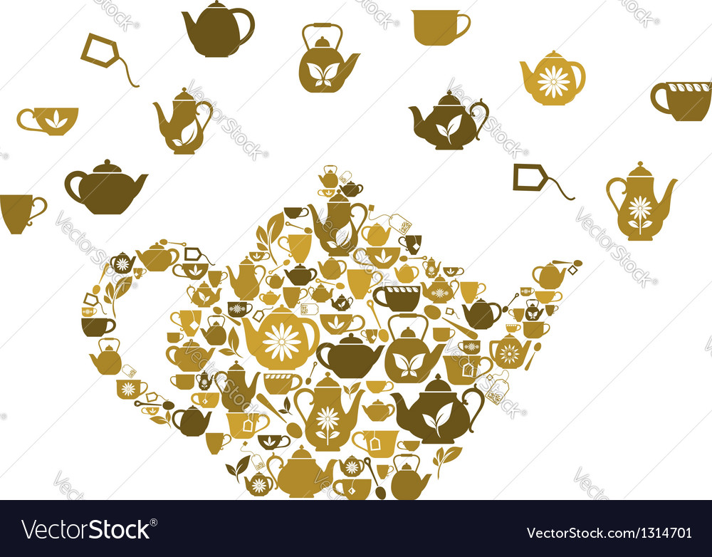 Teapots and cups of tea vector