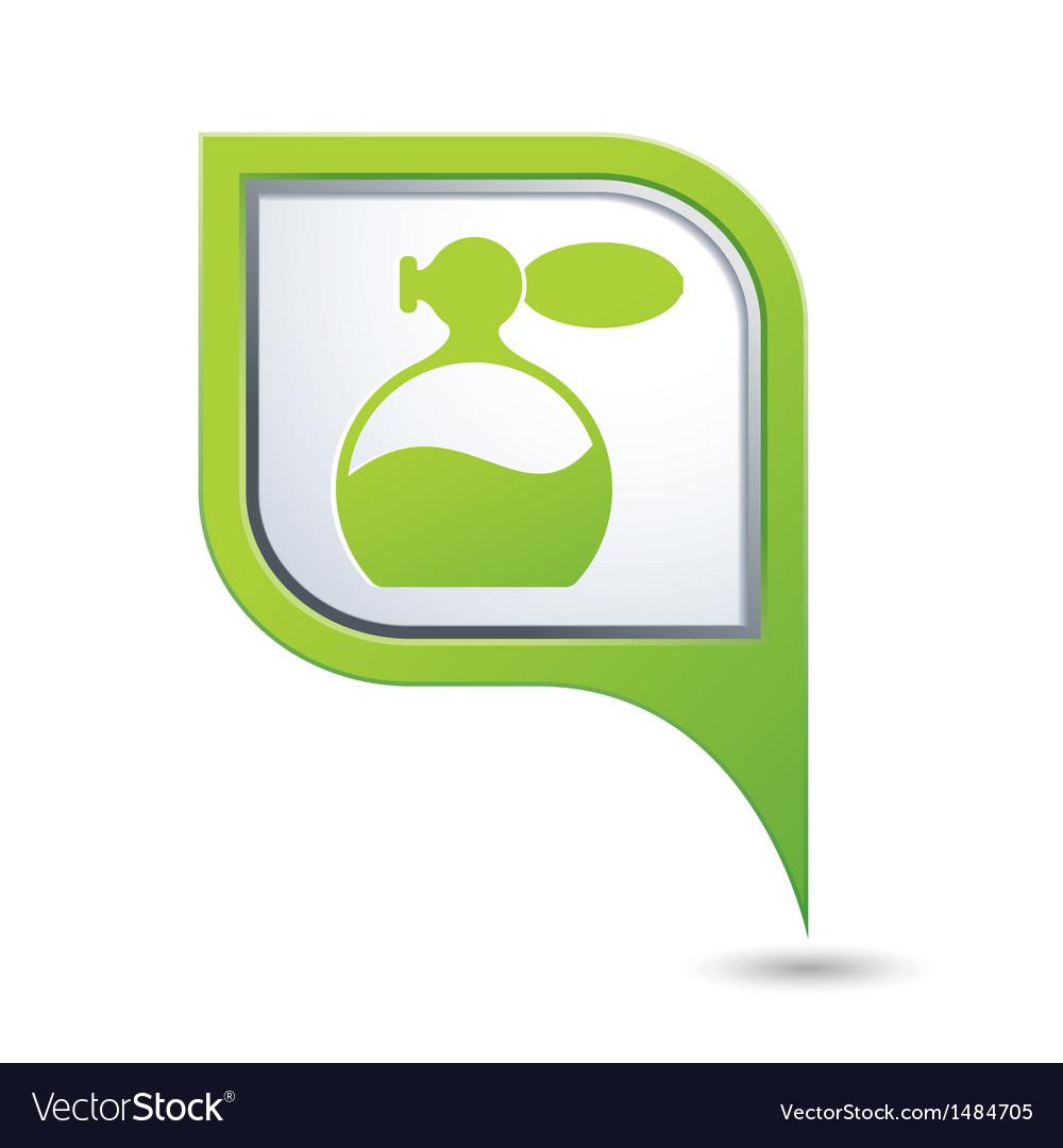 Perfume icon on green pointer vector
