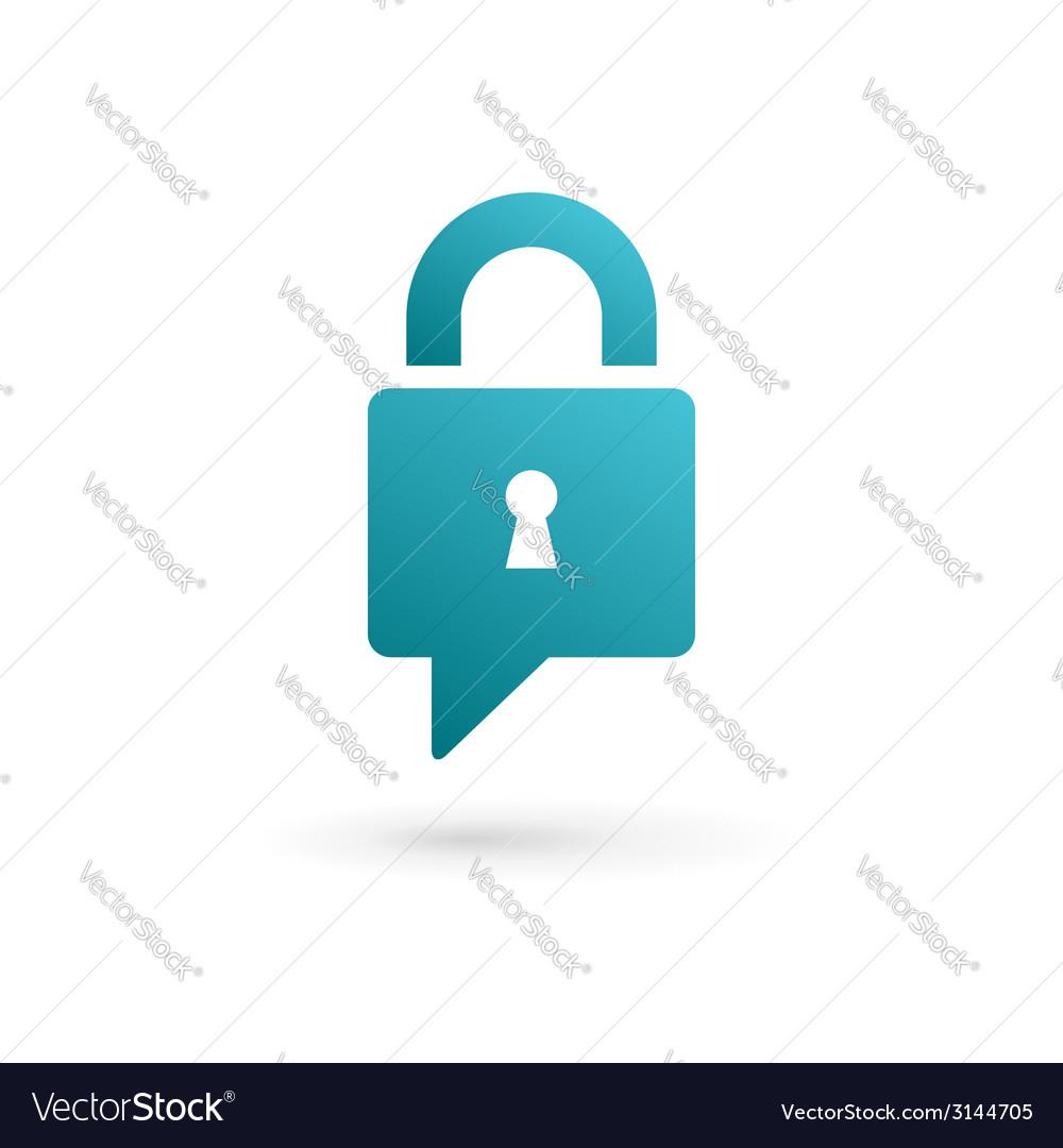 Secure lock speech bubble logo icon vector