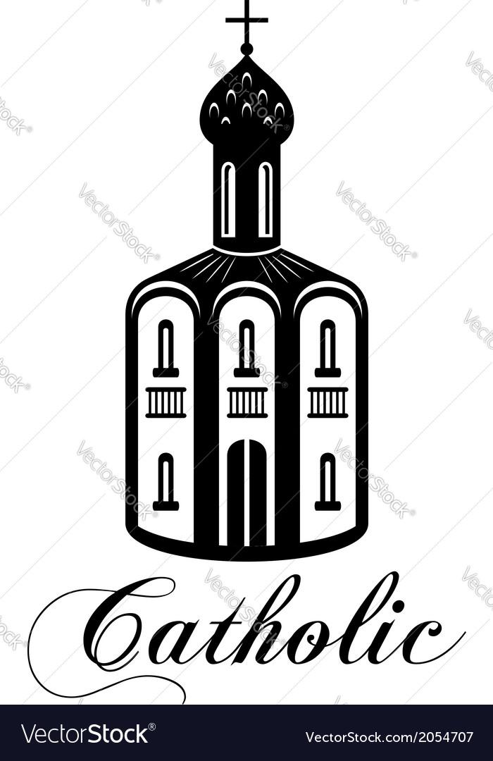 Catholic temple building vector