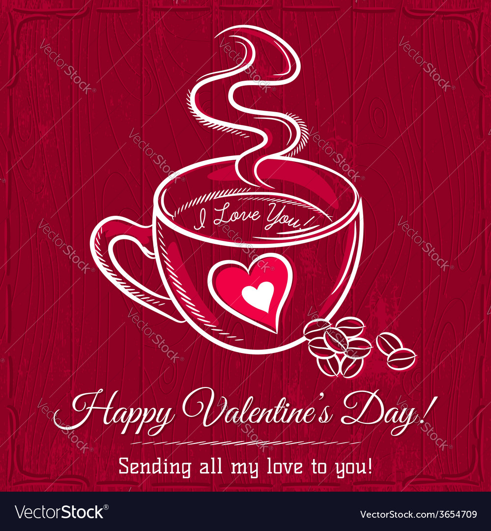 Red valentine card with cup of hot drink vector