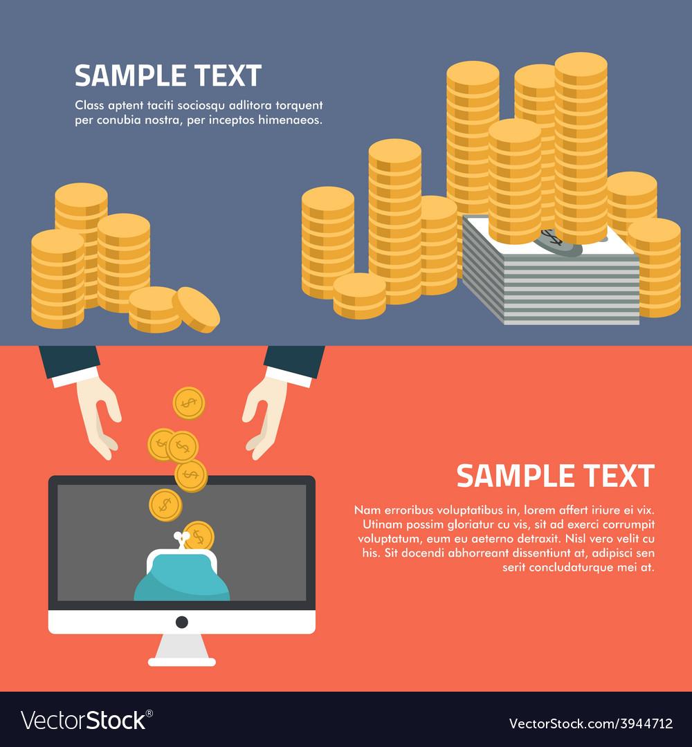 Flat design of online banking human hands a vector
