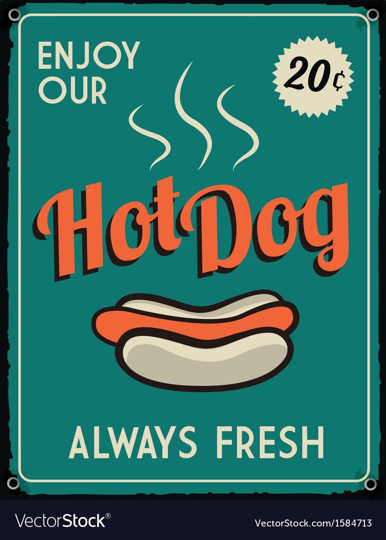 Retro vintage hotdog tin sign vector