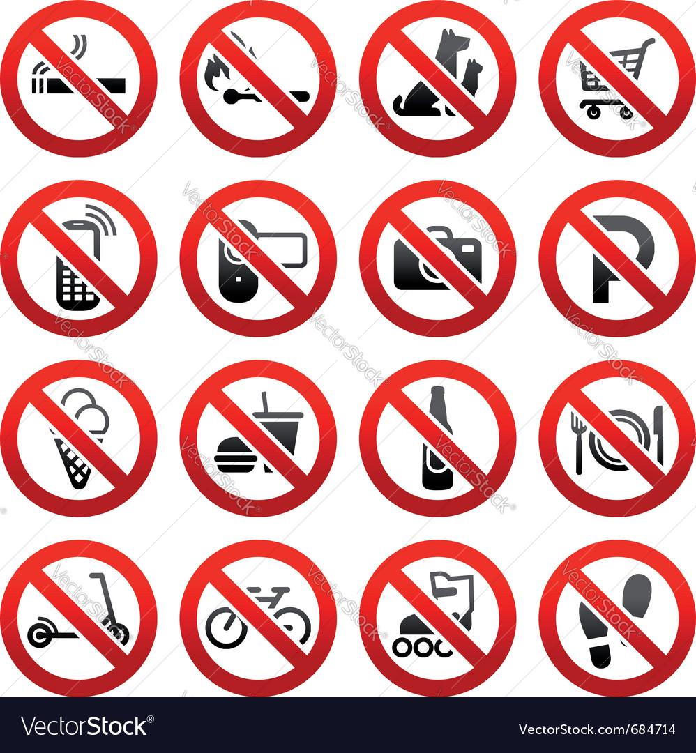 Prohibited symbols vector