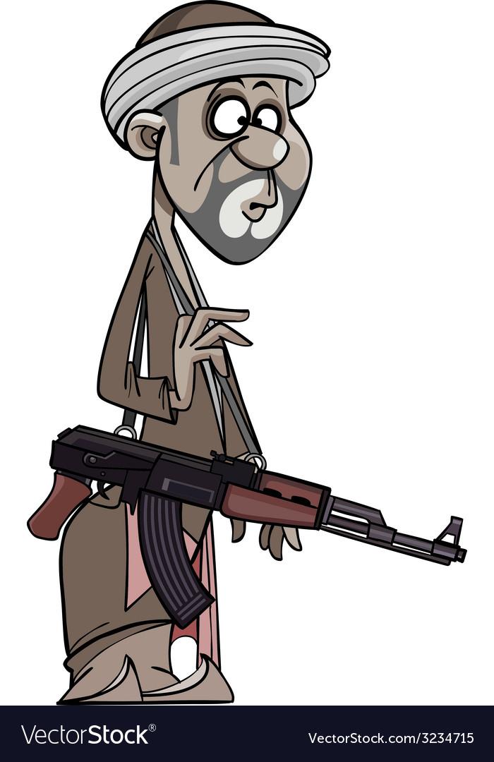 Arab man with a gun vector