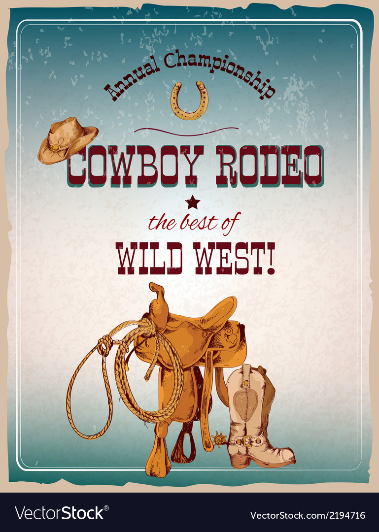Rodeo poster colored vector