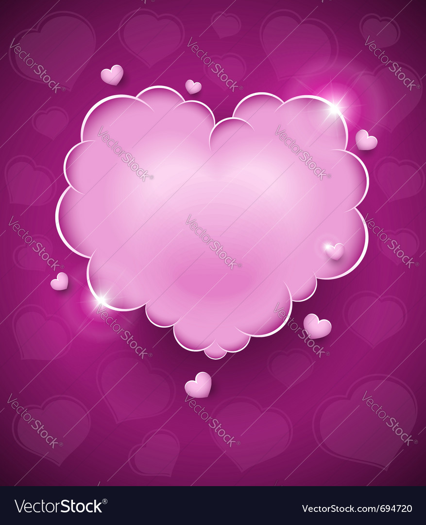 Pink glamour heart cloud vector