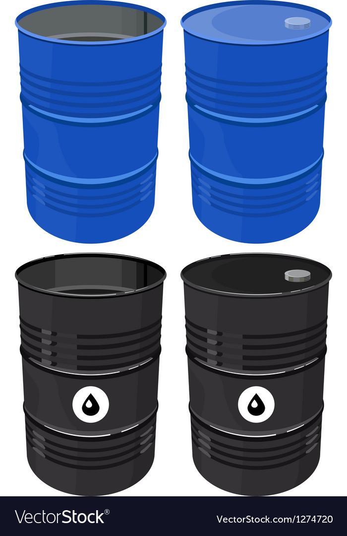Set full barrel oil isolated vector