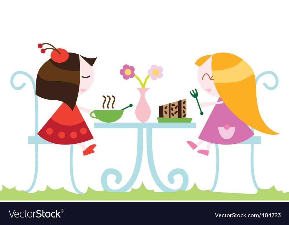 Girls eating dinner vector