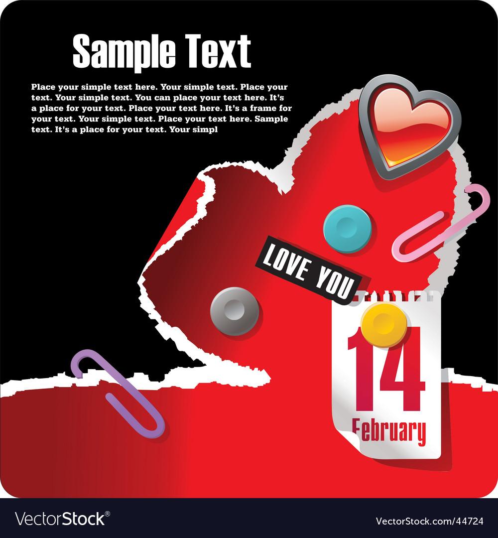 Valentines stationery postcard vector