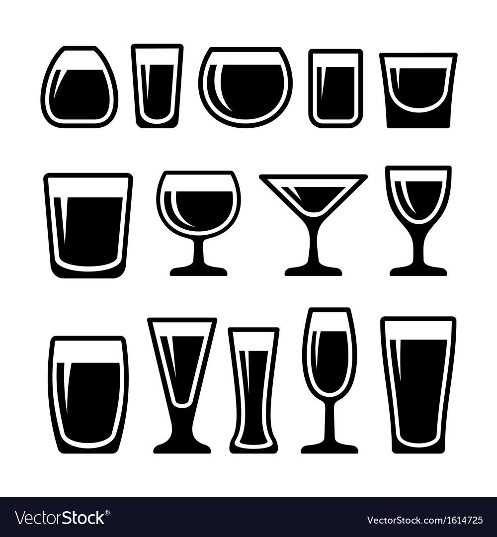 Set of drink glasses icons vector