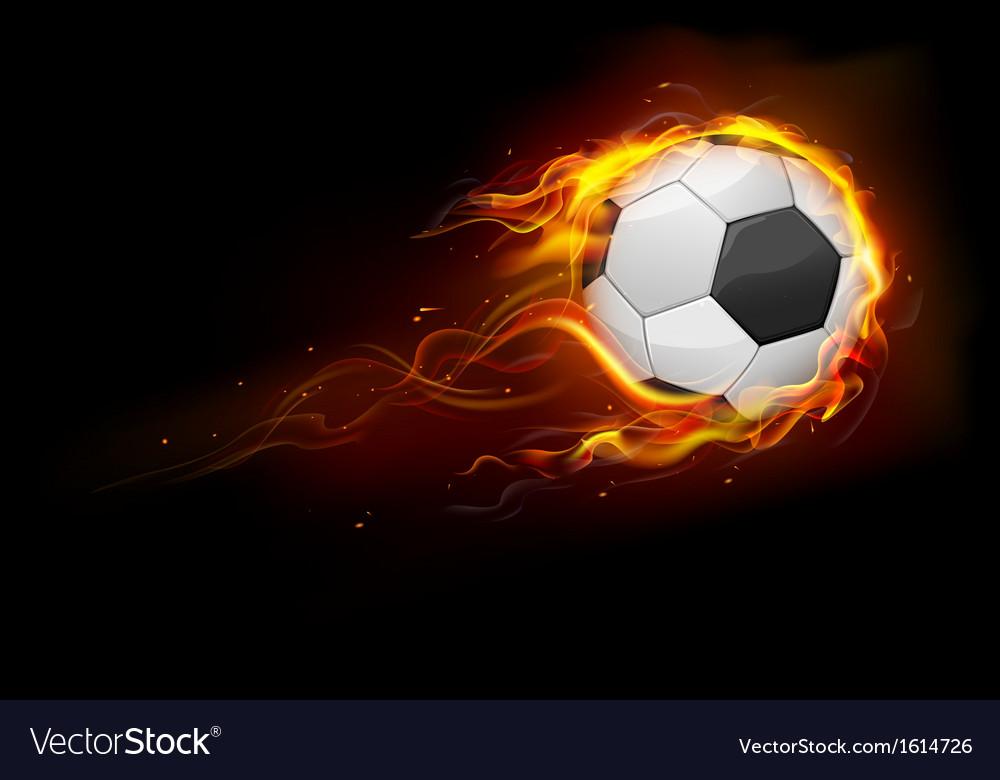 Fiery soccer ball vector