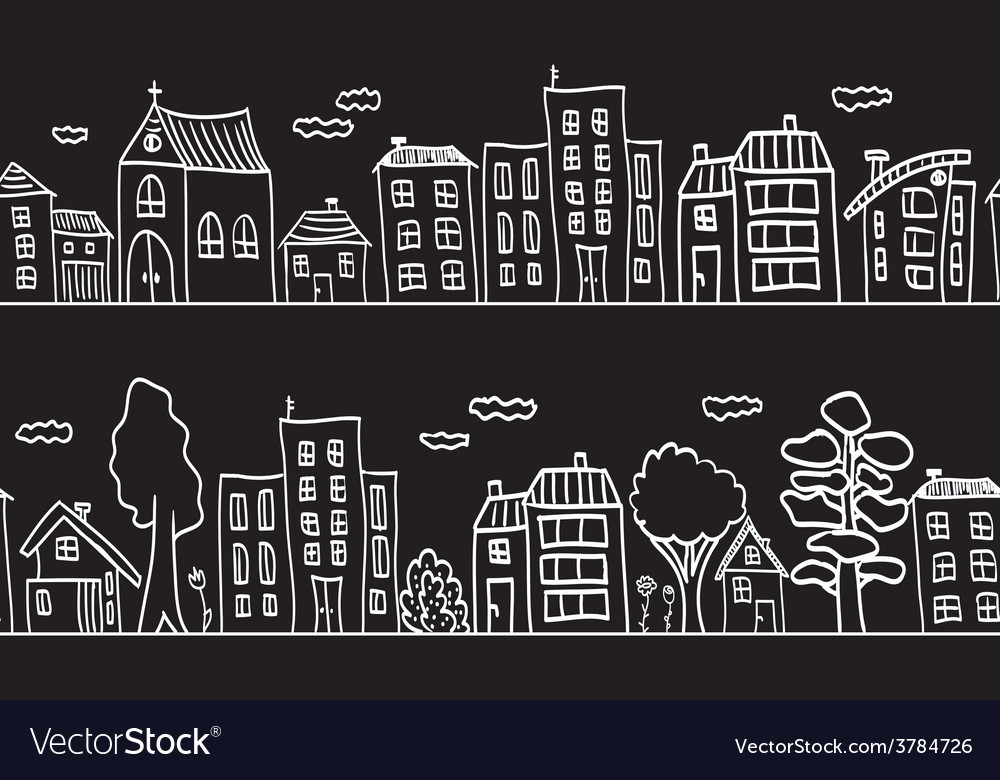 Houses and buildings - small town vector