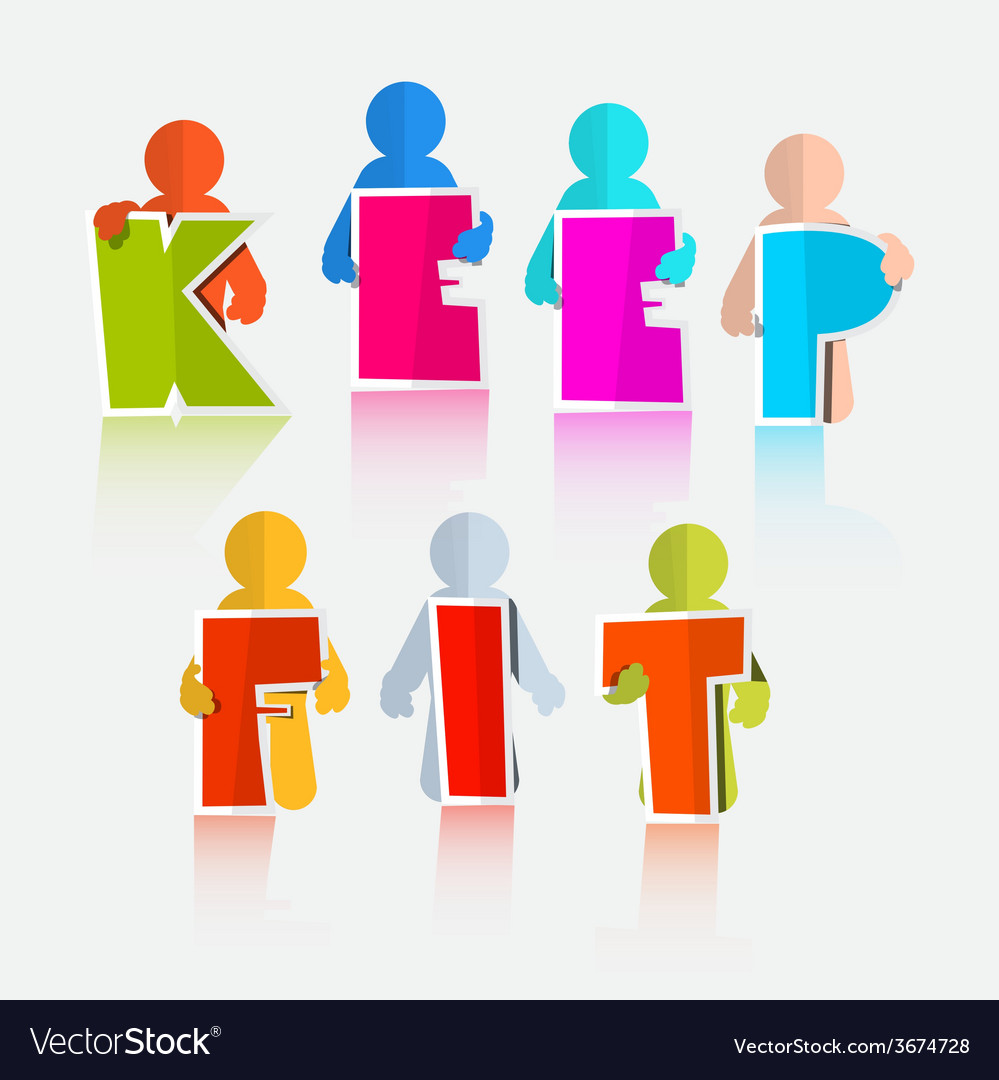 Keep fit colorful paper slogan - title vector