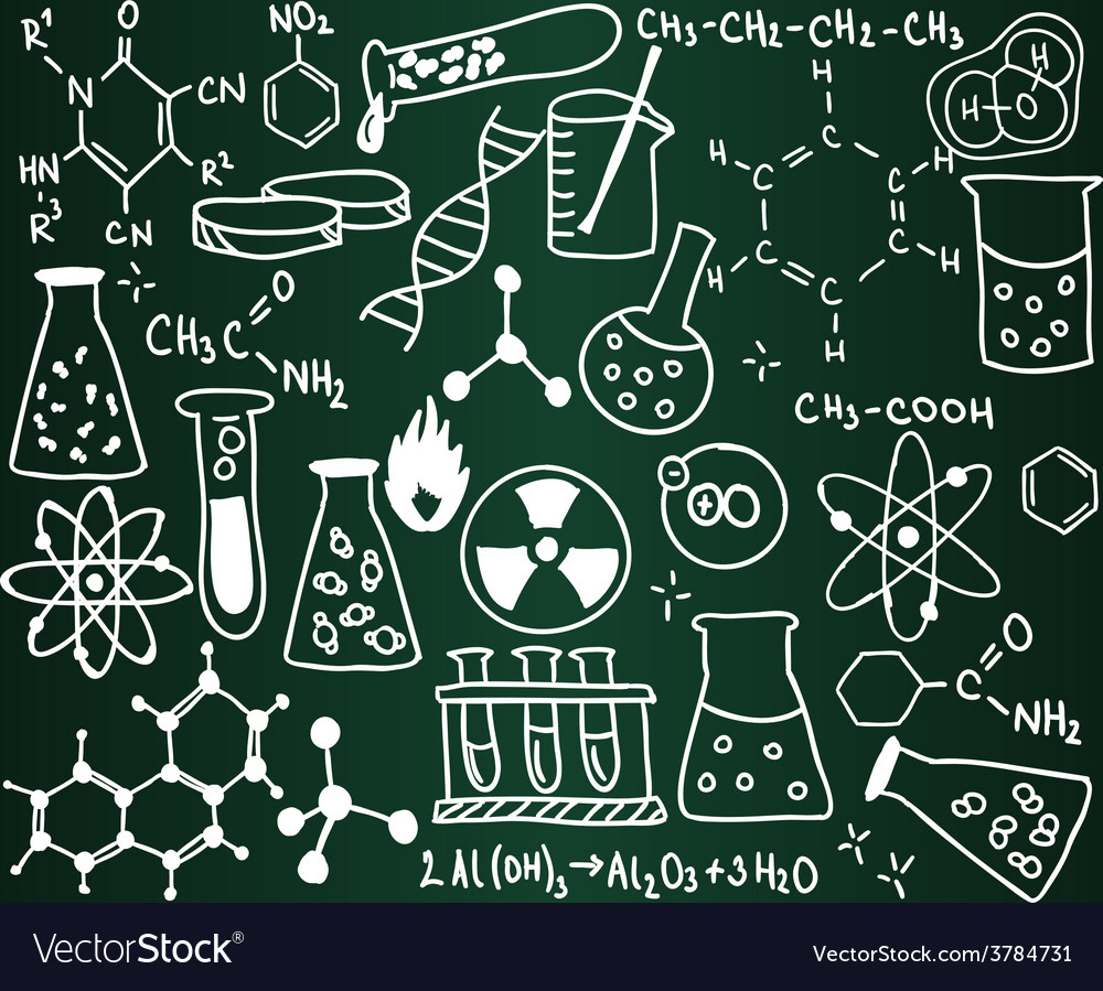 Chemistry icons and formulas on the school board vector