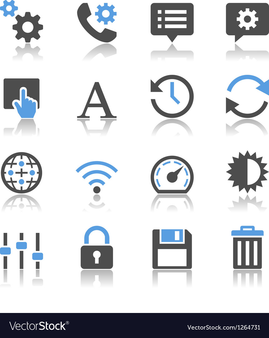 Setting icons reflection vector