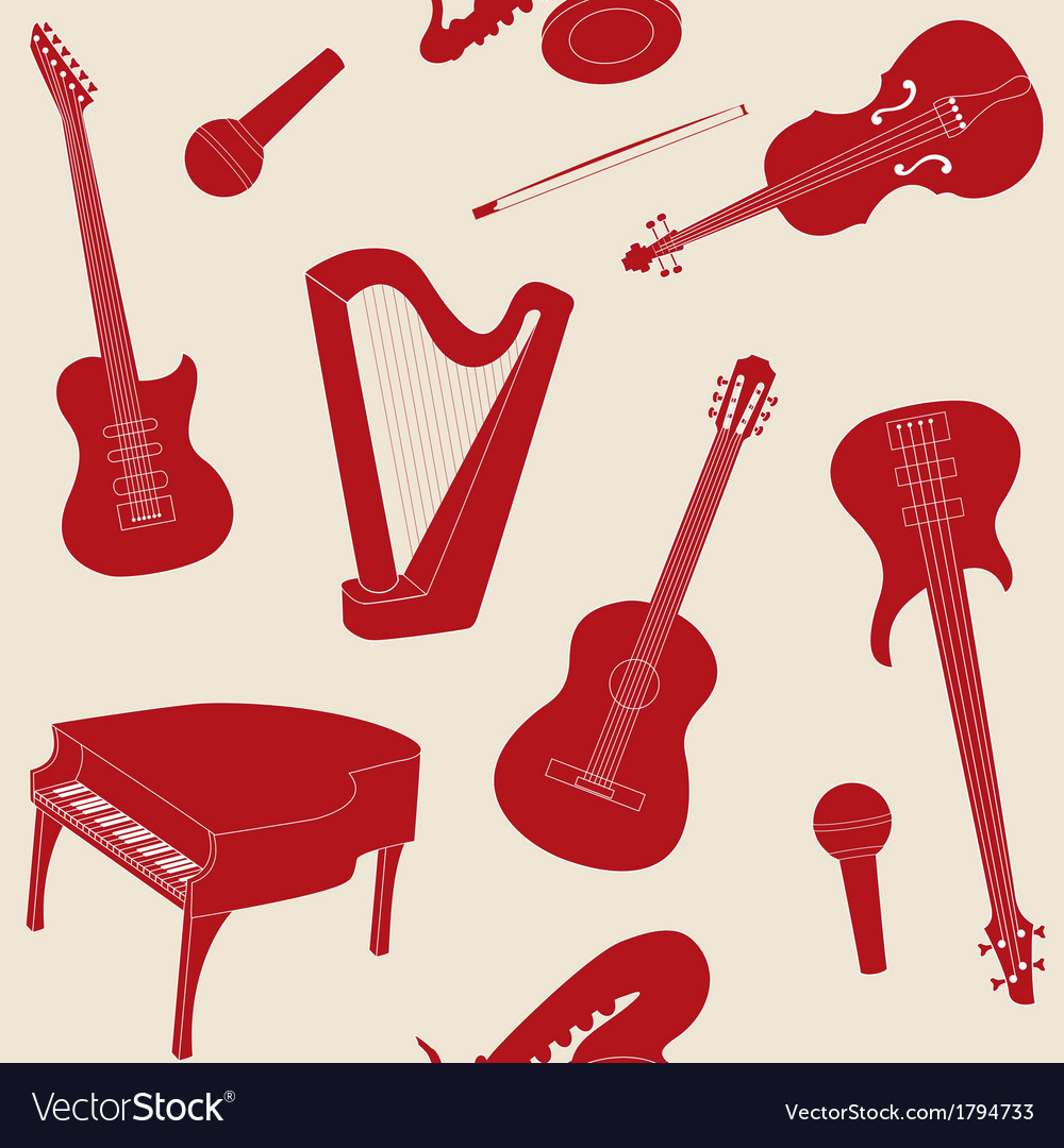 Seamless pattern with musical instruments vector