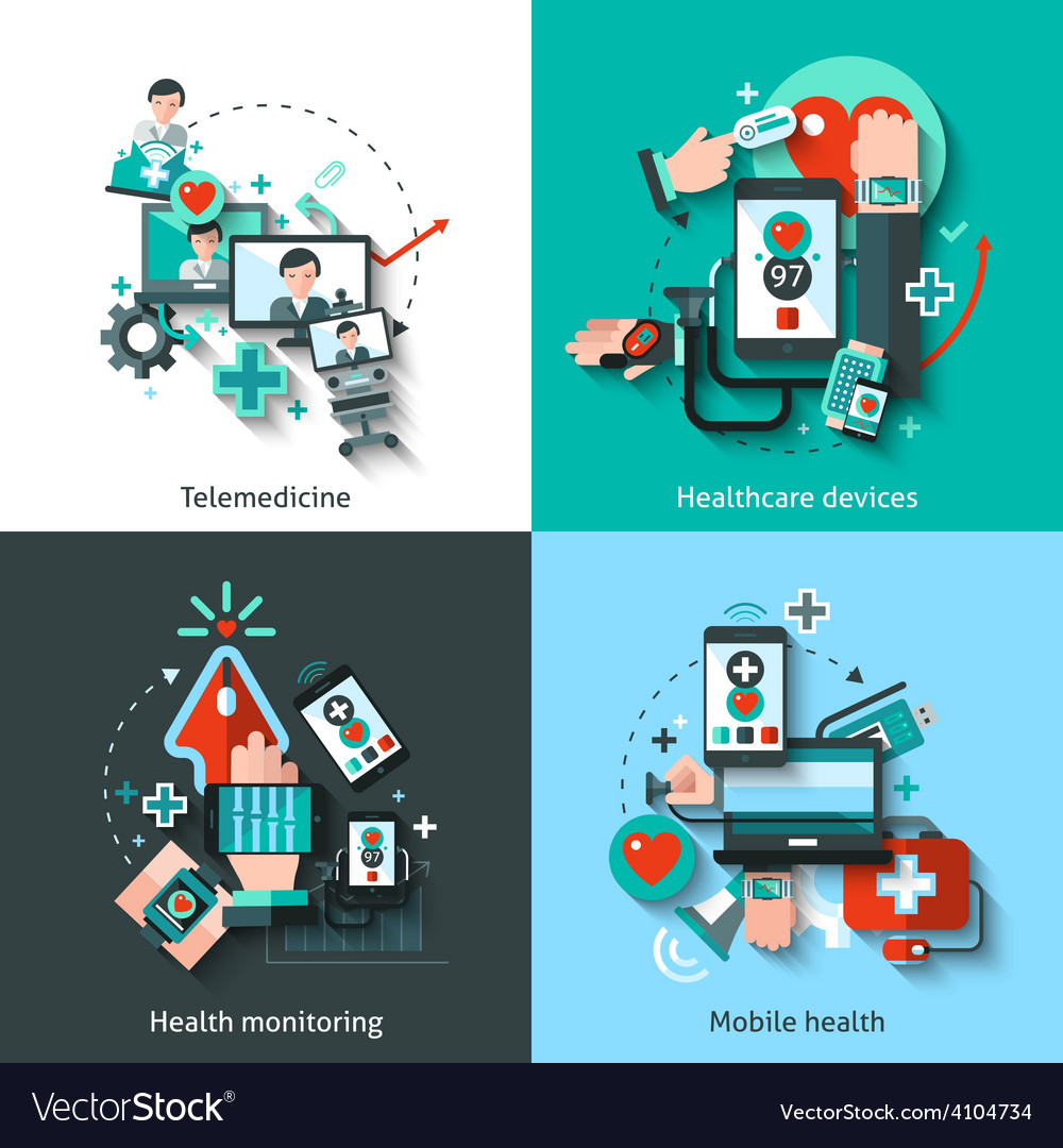 Digital medicine set vector