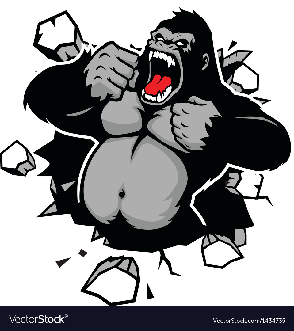 Angry gorilla breaking the wall vector