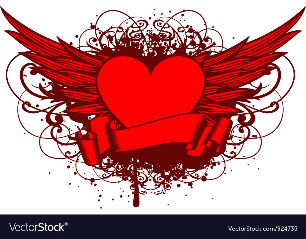 Heart and wings and patterns vector