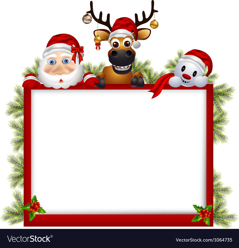 Santa claus deer and snowman with blank sign vector