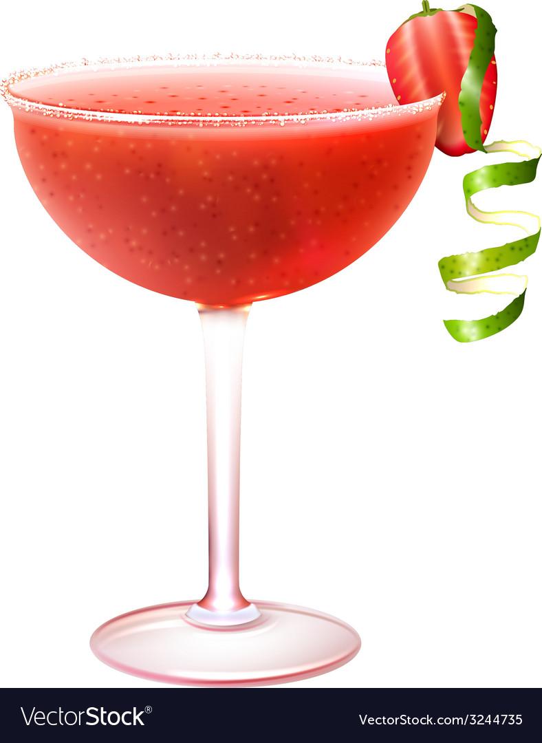 Strawberry daiquiri cocktail realistic vector